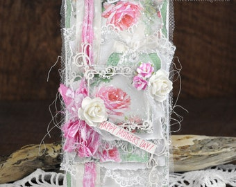 Shabby Chic Vintage Mother's Day For Mom Pink Roses Greeting Card