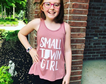 Small Town Girl. Indiana themed youth flowy racer tank.