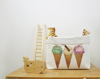 Ice Cream Canvas Storage Box, Storage Solution, Storage Basket, Fabric Basket, Fabric Organiser, Storage Bin, Nursery Storage, IceCream Gift