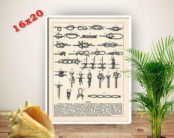 Sailor Knots Print, Nautical art, Canvas Marine Knots Poster, seaman, sailor gift, Sailing School Seaside Decor, 16x20 canvas, free shipping
