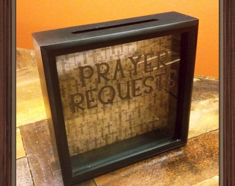 PRAYER REQUESTS box, 8x8, Church Camp, Youth Group, Summer Church Camp, Prayers, Prayer Box, Church Decor, Pastor's Office