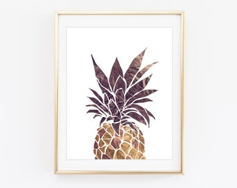 Gold pineapple print - Cropped pineapple print - Golden pineapple wall art - Modern home decor - Welcome prints - Golden pineapple poster