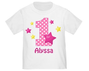 Pink Stars Personalized Birthday Shirt - ANY AGE