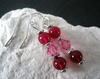 Pink Agate and Rose Crystal Earrings