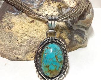 Native American Navajo Richard Begay Sterling Silver Turquoise Pendant Liquid Silver Necklace, Turquoise Necklace, Native American Necklace