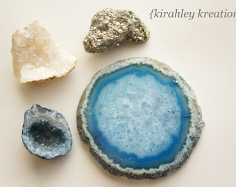 GEODE CRYSTAL AGATE Pyrite Magnets Blue White Silver Stone Rock Kitchen Fridge Refrigerator Decor Teacher Classroom Host Gift Housewarming