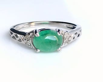 EMERALD DIAMOND RING, May birthstone , emerald Cabochon ring,  engagement ring, oval emerald ring, antique emerald ring ,emerald jewellery