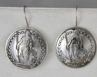 Vintage Swiss Helvetia Coin Earring