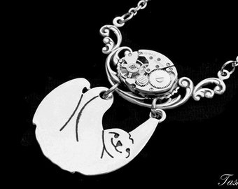 Steampunk Sloth Necklace, Long Silver Cute Sloth Pendant, Statement Charm Jewelry