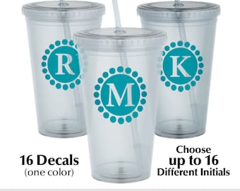 16 Personalized Tumbler Decals, Custom Monogram Cup Decals, Personal Water Bottle Stickers, Personalized Gift Decals, Up to 16 Initials r2