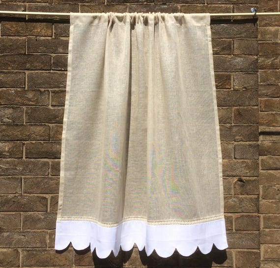 Natural Sheer Linen Scalloped Kitchen Cafe Curtain