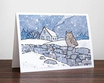 Farmhouse Owl Christmas Card - Winter Snow Landscape