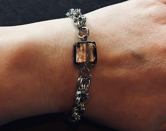Handmade Chain Link Bracelet with grey square glass bead
