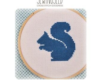 Squirrel Silhouette Cross Stitch Pattern Instant Download