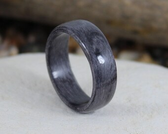 Bent Wood Ring Grey Birdseye Maple, Handmade Wooden Ring In Any UK or US Size