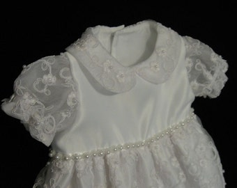 Christening Gown and bonnet WHITE pearl beaded emboidered organza overlay