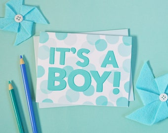 It's a Boy, Baby Shower card, Baby gift, Gender reveal party, Greeting Card, Welcome little one, mom to be, expecting mother, baby boy, blue