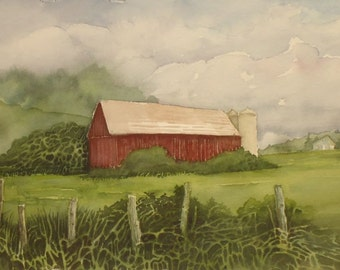 Old Farmstead, Original Watercolor, Prints Available, 5x7 print with 8x10 matching mat. 20.00 each, Includes tax,shipping and handling.