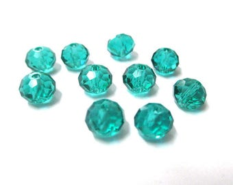 10 blue Emerald faceted 6x8mm glass rondelle beads