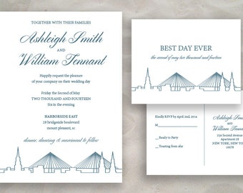 Charleston Skyline Wedding or Event Invitation Set