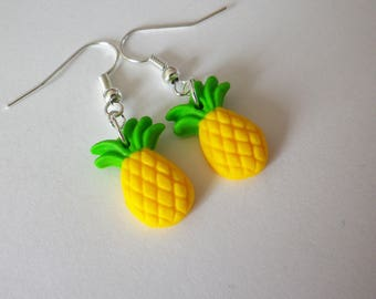 Pineapple fruit yellow and green beads earrings summer
