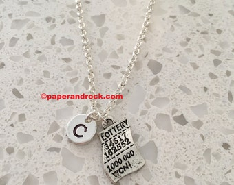 Lottery ticket necklace, lottery ticket charm, lottery necklace, personalized necklace, initial necklace