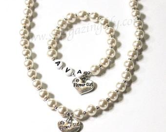 Flower Girl Necklace Bracelet Set Flower Girl Jewelry for little girls Flower Girl Charm name bracelet YOU CHOOSE pearl color Custom Jewelry