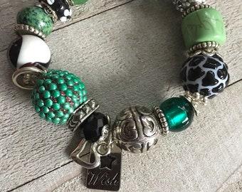 GREEN and BLACK Chunky Bracelet, Costume Jewelry