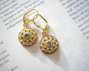 SALE - Vintage Swarovski Pale Amethyst Tanzanite Peridot Crystal Cluster Earrings Rare Renaissance Victorian February August Lilac Romantic