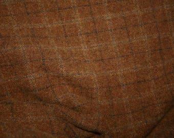 "Fat Eighth - Wool Fabric - Milk Chocolate Bar Triple Window Pane Wool - 100% Wool - 16"" x 12"""
