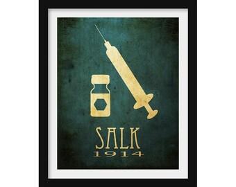 Microbiologist Jonas Salk, Doctor Gift, Microbiology Gift, Science Lab  Decor, Biology Art