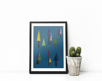 A4 digital illustration 'tree blues' retro scandinavian art drawing for home decor nursery wall art