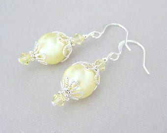 Pale yellow pearl earrings, light yellow glass pearl earrings with silver filigree, pastel Spring, bridesmaids jewelry, lemon bridal