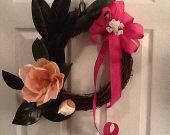 Summer pink magnolia  wreath