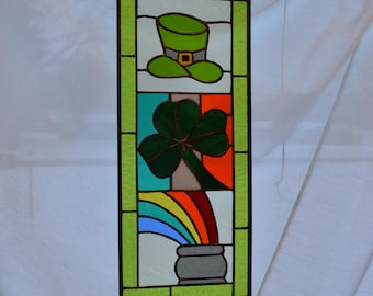 Large Handmade Stained Glass Panel for St. Patrick's Day!!!