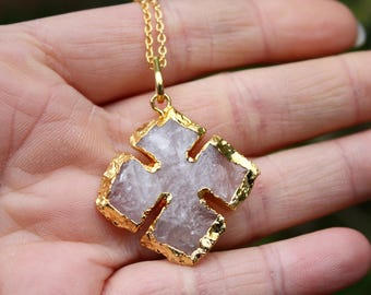 Rose Quartz Necklace - Cross Necklace - Gold Edged Pendant - 14K Gold Filled Necklace - Hand Knapped Natural Rose Quartz - Rough Gemstone