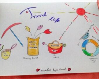 Travel life , Family tree ; 34.4cm X 24.5 cm