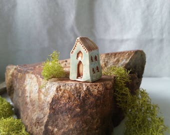 miniature blue mission inspired house with brown trim fairy garden enchanted forest tiny ceramic clay house miniature blue house tiny house