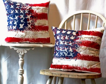Hand Painted Abstract Art Pillow of American Flag