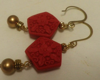 carved CINNABAR dangle earrings, red and gold