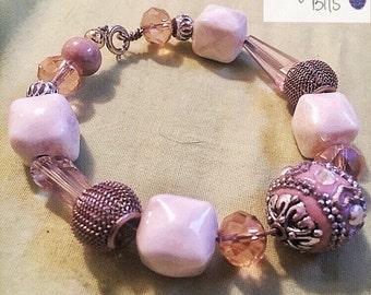 Pink Bead Bracelet, Beaded Bracelet, Breast Cancer Awareness Bracelet, Survivor, bracelets, donation