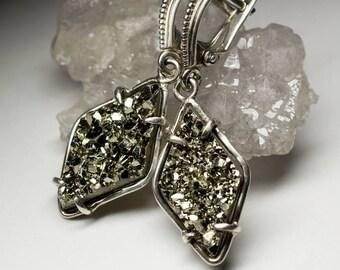 Pyrite Silver Earrings art 8689 | Natural Organic Gemstone Sterling Silver Earrings Fine Jewelry