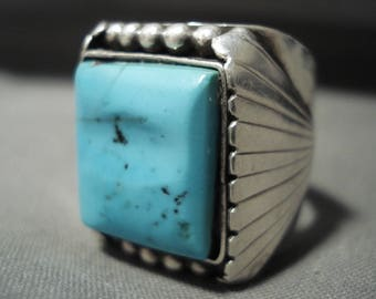 Huge And Heavy Vintage Navajo 'Squared Natural Turquoise' Silver Ring Old