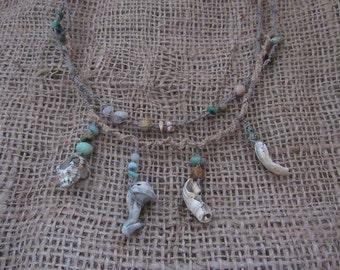 Organic Macrame Crystal Necklace Sea Shells Hemp Flax Jewellery Gemstone Festival Natural Jewelry Tribal Bohemian Beach Gypsy Eco Tribe Wild