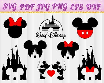 Disney Castle SVG, Heart, Head Mickey Mouse, Cinderella, Magic Kingdom, Disneyland, Silhouette, svg,jpg,pdf,png,dxf,eps, Cut Files,  Cameo 6