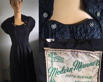 1950's BLACK TAFFETA EMBELLISHED Dress