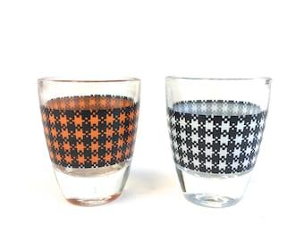 Mid Century Modern Houndstooth Shot Glasses from France / Colorful Vintage Shot Glass Set~ Orange, Black & White