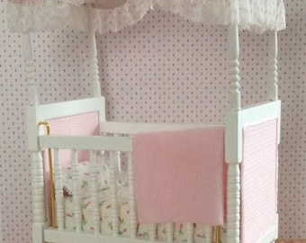 Miniature One Inch Scale Pink Rose Bud Canopy Crib