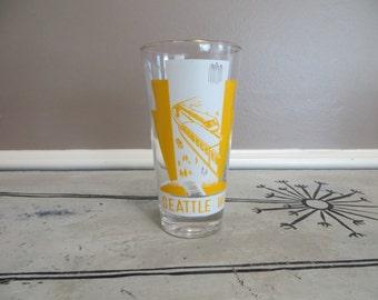Seattle Worlds Fair 1962 Highball Glass Yellow Monorail Glass Yellow Kitchen Drinking Glass Collectible Glass