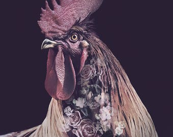 Burgundy Rooster Flower Portrait – Faunascapes Art Print by WhatWeDo